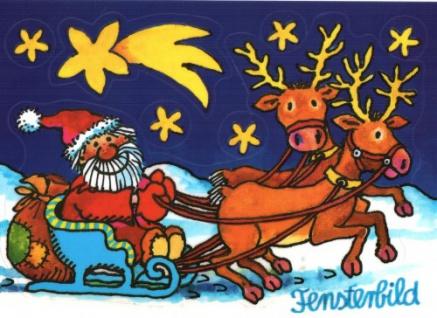 Fensterbild Postkarte Weihnachtsschlitten
