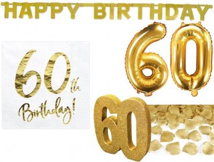 25 Teile Dekorations Set zum 60. Geburtstag oder Jubiläum in Gold Glanz