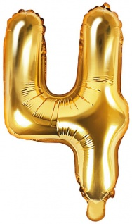 Folienballon Zahl 4 Gold Metallic 35 cm