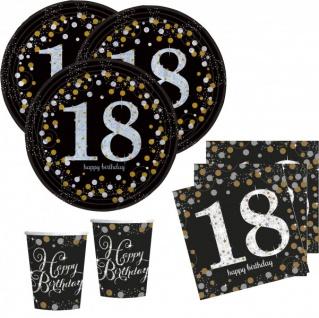 48 Teile zum 18. Geburtstag Gold Glitzer für 16 Personen