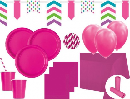 XL 83 Teile Party Deko Set Neon Pink für 14 Personen