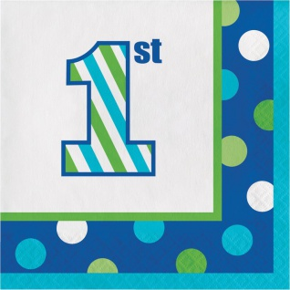 16 kleine Servietten 1. Geburtstag Punkte und Streifen Blau - Vorschau 1