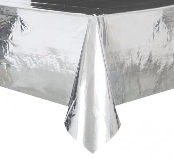 Plastik Tischdecke Silber Glanz Folie