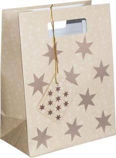 Geschenktüte mit Henkel in Beige mit kupfernen Sternen