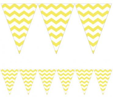 Wimpel Banner ZickZack Streifen in Pastell Gelb