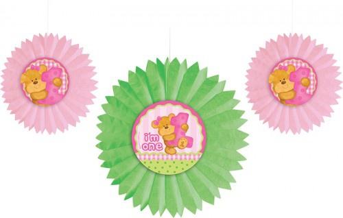 3 Dekofächer 1. Geburtstag rosa Teddy