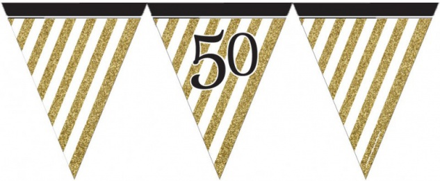 Wimpelkette 50. Geburtstag Black and Gold