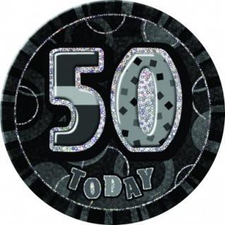 XXL Glitzer Button 50. Geburtstag Schwarz
