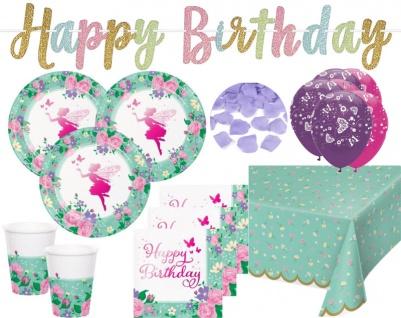 XL 41 Teile Blumen Fee foliertes Geburtstags Party Deko Set für 8 Personen