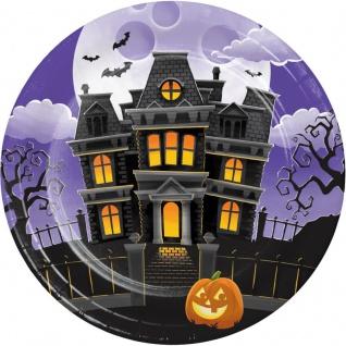 8 Halloween Papp Teller Hexen Spukhaus