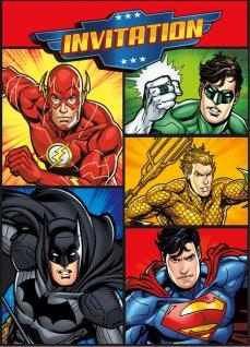 8 Einladungskarten Justice League