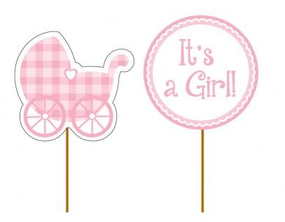 12 kleine Kuchen oder Muffin Picks Baby Party It's a Girl Rosa