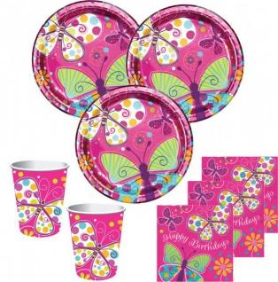 32 Teile Schmetterling in Pink Geburtstags Deko Set für 8 Personen - Vorschau 1