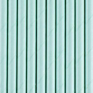 10 Papier Trinkhalme hellblau