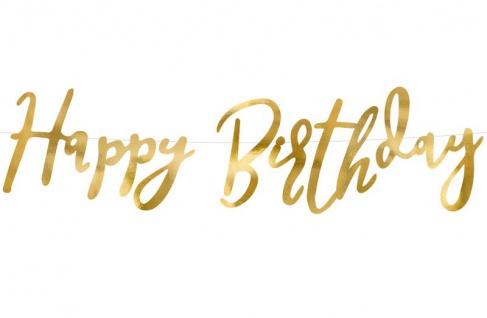 Geburtstags Girlande Happy Birthday Gold Glanz foliert