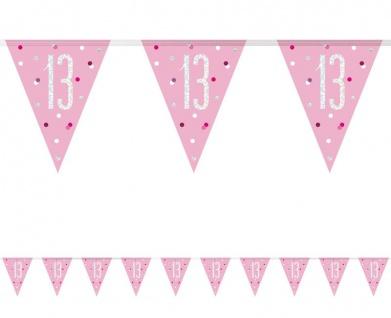 Wimpel Girlande Pink Dots Glitzer zum 13. Geburtstag