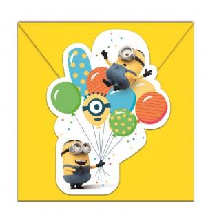 6 Einladungskarten Minions mit Ballons