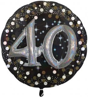 XXL Multi Folien Ballon zum 40. Geburtstag mit separat füllbaren Glitzer Zahlen