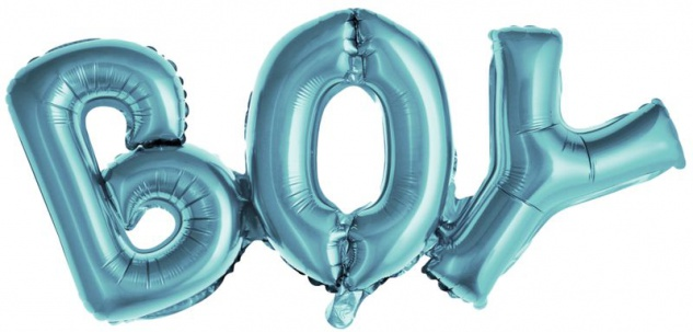 Buchstaben Ballon BOY in Pastell Blau 67 cm lang