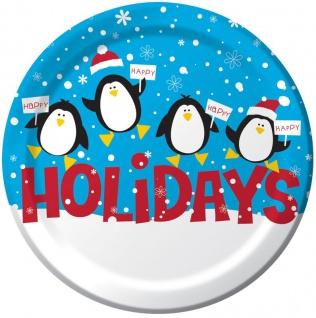 25 Teller Pinguine im Schnee