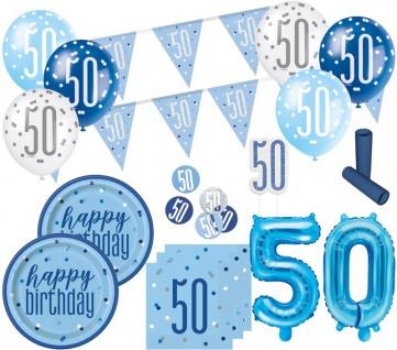 XL 36 Teile 50. Geburtstag Blue Dots Party Deko Set 8 Personen