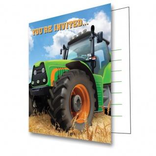 8 Einladungskarten Traktor Party