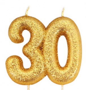 Kuchen Kerze 30. Geburtstag Gold Glitzer