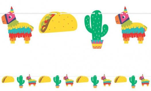 bunte Girlande Fiesta Fun Pappschilder Esel Kaktus und Tacco an der Kordel