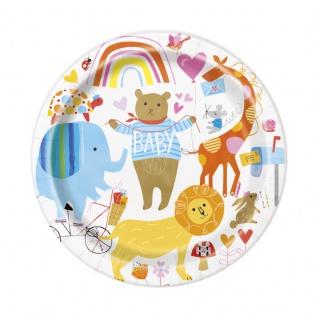 8 kleine Papp Teller Baby Zoo für die Babyparty