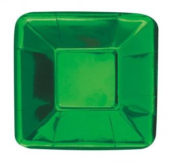 8 kleine quadratische Appetizer Teller Hochglanz Grün