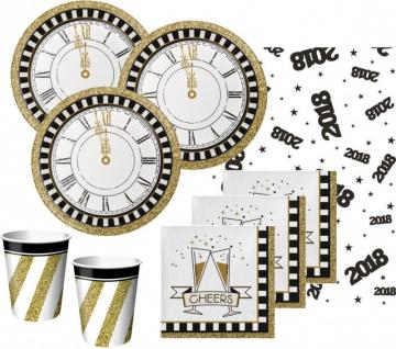 33 Teile Silvester und Neujahrs Fingerfood Party Deko Set 8 Personen - Black and Gold