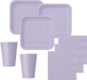 48 Teile Party Deko Set Lavendel für 14 Personen