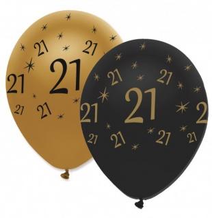 29 Teile Set zum 21. Geburtstag oder Jubiläum - Party Deko in Schwarz & Gold - Vorschau 5