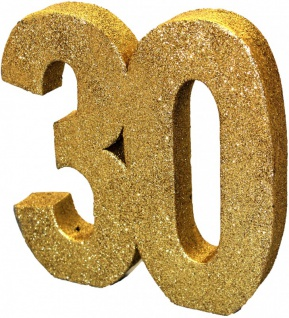 Deko Glitzer Zahl 30. Geburtstag Gold