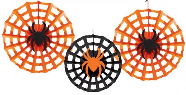3 Halloween Dekofächer Spinne