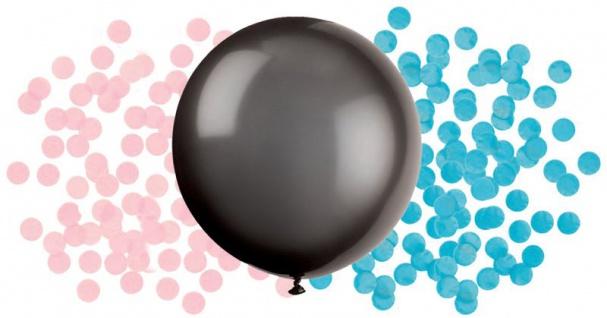 XL Überraschungs Luftballon Babyparty mit Konfetti in blau und rosa Junge oder Mädchen?
