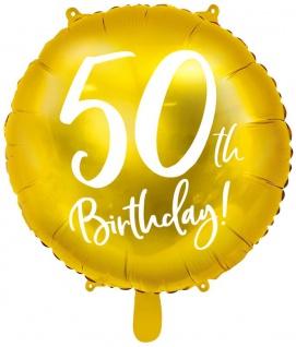Folien Ballon zum 50. Geburtstag in Gold Metallic