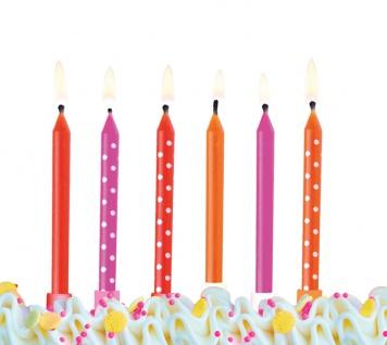 6 Kuchen Kerzen Pink Orange Rot Mix - Vorschau