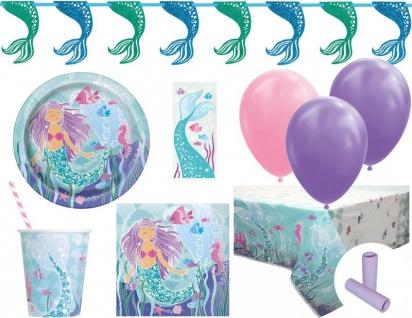 XL 85 Teile Glitzer Meerjungfrau Party Deko Set für 8 Kinder
