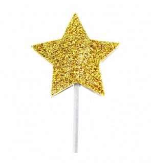 12 glitzernde goldene Sterne Cupcake oder Kuchen Picker
