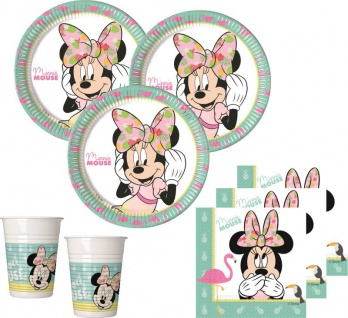 36 Teile Disney Minnie Maus Tropical Party Deko Basis Set - für 8 Kinder