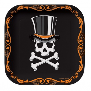 8 kleine Papp Teller Halloween Gentleman