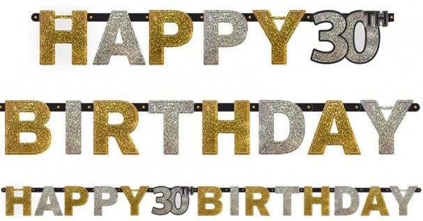 Geburtstags Girlande Glitzerndes Gold und Silber 30. Geburtstag