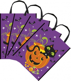 8 Fröhliches Halloween Sammel Taschen mit Kürbis Geist & Katze - Sammeltasche - Vorschau 1