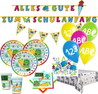 XL 49 Teile Party Deko Set Schulanfang und Einschulung für 10 Personen