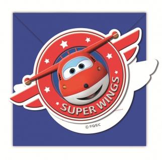 6 Einladungskarten Super Wings Flugzeuge