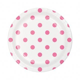 8 kleine Papp Teller Punkte und Streifen Bonbon Rosa