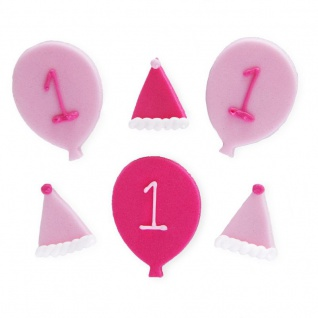 6 Zuckerfiguren rosa Ballons zum 1. Geburtstag