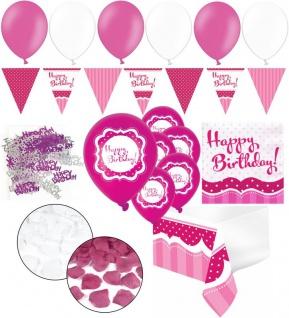 XXL 35 Teile zum Geburtstag Happy Birthday Perfectly Pink für 18 Personen - Servietten