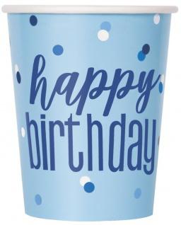 8 Papp Becher Blue Dots Happy Birthday